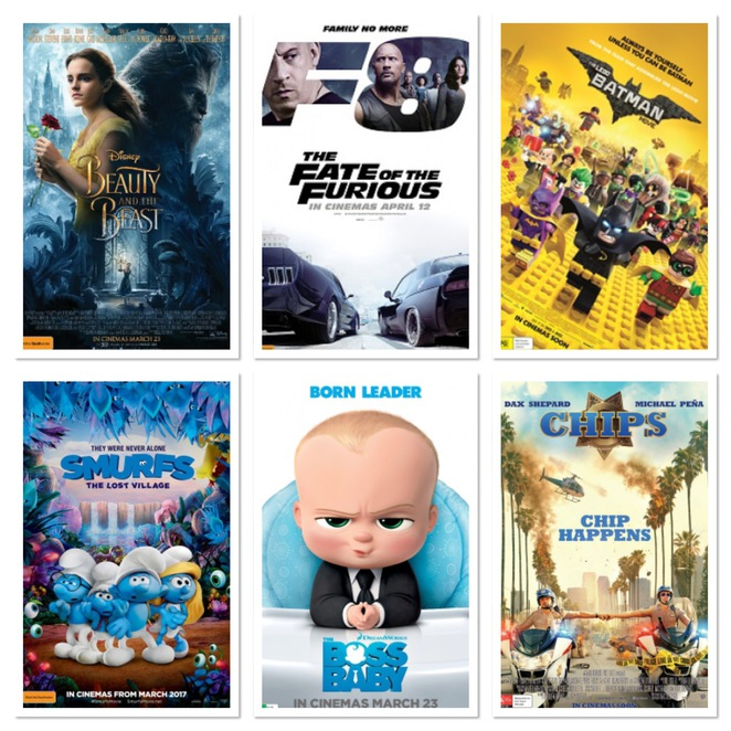 Beauty & The Beast, Fate of the Furious, Boss Baby, Smurfs, Fast & The Furious, Bell, Batman Lego Movie, Chips