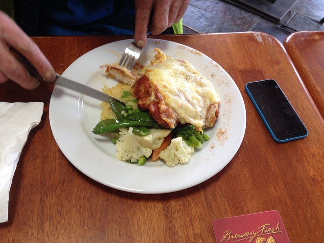Chicken parmigiana in the bar