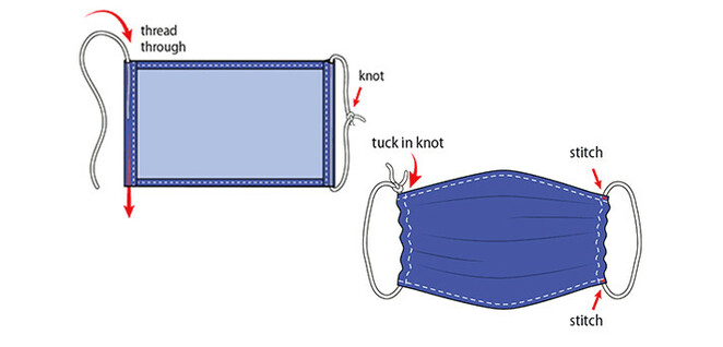 Instructions on making a square cloth face mask courtesy of the CDC