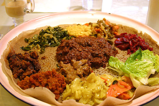 Ethiopian Platter with injera bread
