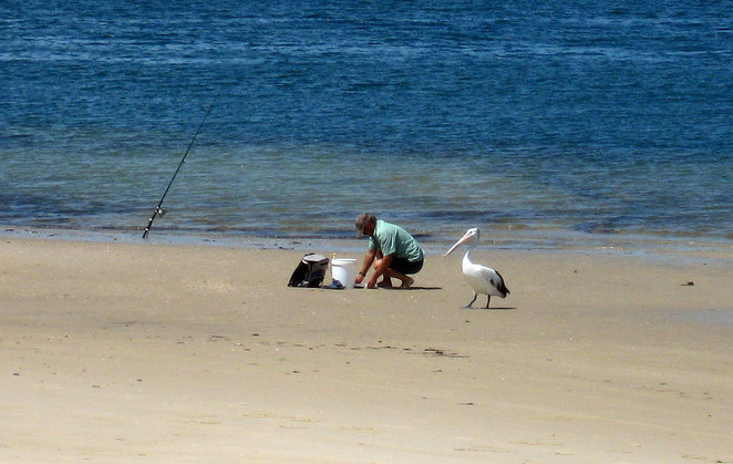 Beach fishing is popular on Red Beach