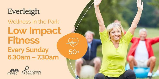 free low impact fitness in everleigh park, wellness in the park, everleigh, low impact fitness, enriching communities greenbank, everleigh park, exercise, health and fitness for over 50s