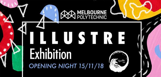 illustre exhibition 20189, inner spacer gallery, prahran, melbourne polytechnic, illustration art, art exhibition, emerging artists, paintings, illustrators, nibbles and drinks, young henrys, creative industry, community event, fun things to do, art lovers, artistic, art culture