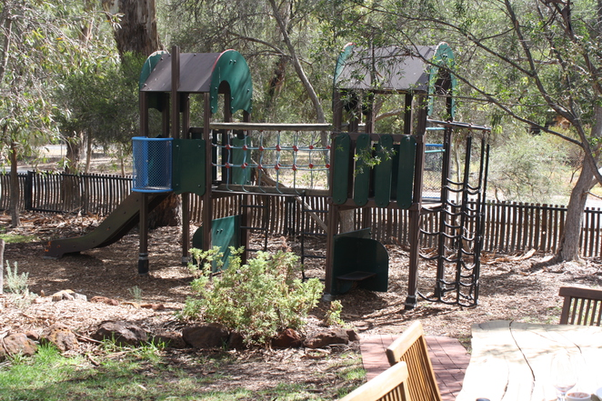 The restaurant grounds have space for little people to run around, including playground equipment.