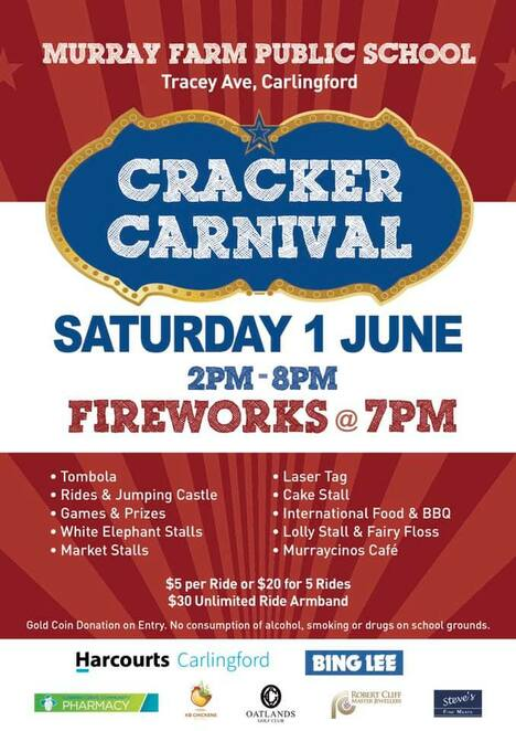 murray farm cracker carnival 2019, community event, fun things to do, fundraiser, charity, murray farm public school, carlingford, fireworks, rides and jumping castle, games and prizes, white elephant stalls, market stalls, laser tag, cake stall, international food and bbq, lolly stall and fairy floss, murraycinos cafe
