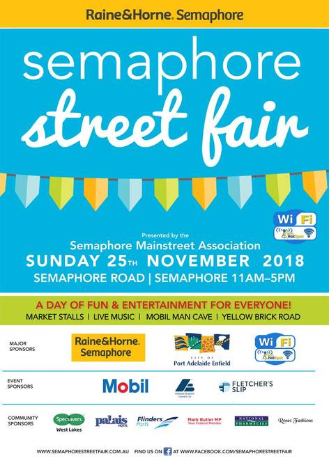semaphore street fair 2018, community event, fun things to do, raine and horne semaphore street fair, semaphore public relations, semaphore sa, city of port adelaide enfield council, entertainment, free family friendly day, semaphore road, market stalls, artisan shopping, hand made goods, amusement rides, kids activities, live music, dj, pop up bars