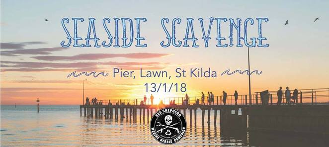 St Kilda, beach, seaside scavenge, 2018, January