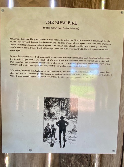 Interpretive signs recall the family's experiences