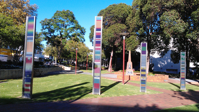 Take a closer look at the colourful banners in this delightful grassed area at Memorial Park, Armadale.