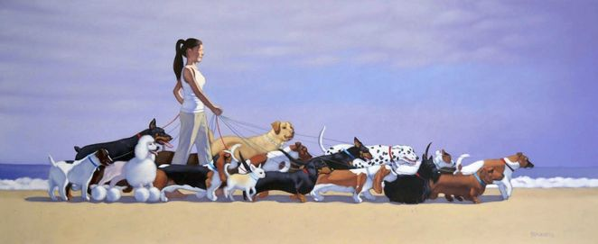 andrew baines, art, art exhibition, Dachshunds, adelaide, exhibition, dogs, short, henley beach, a womans best friend