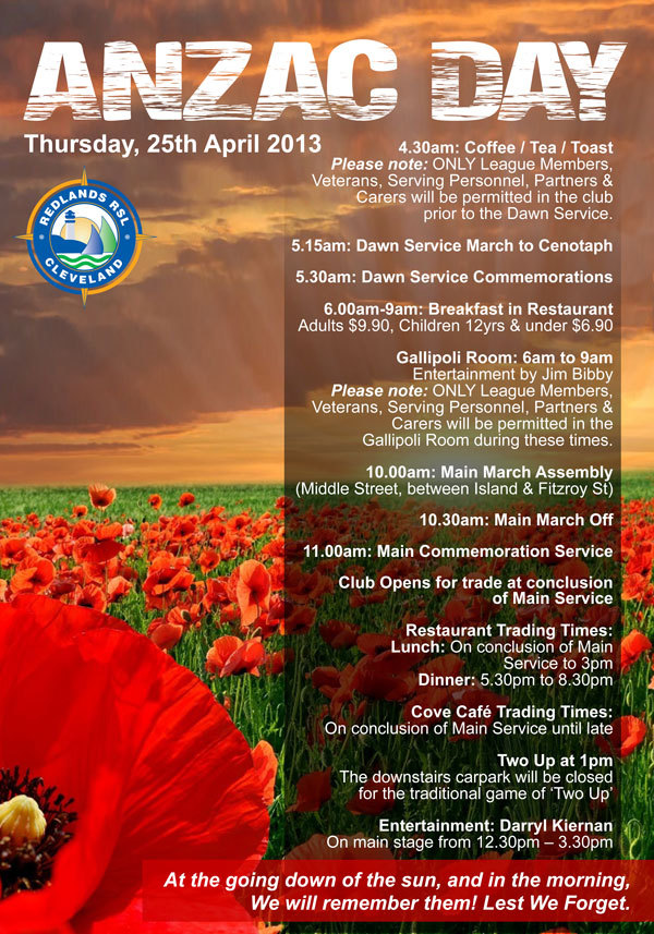 poster for the Anzac Day Event held at Redlands RSL