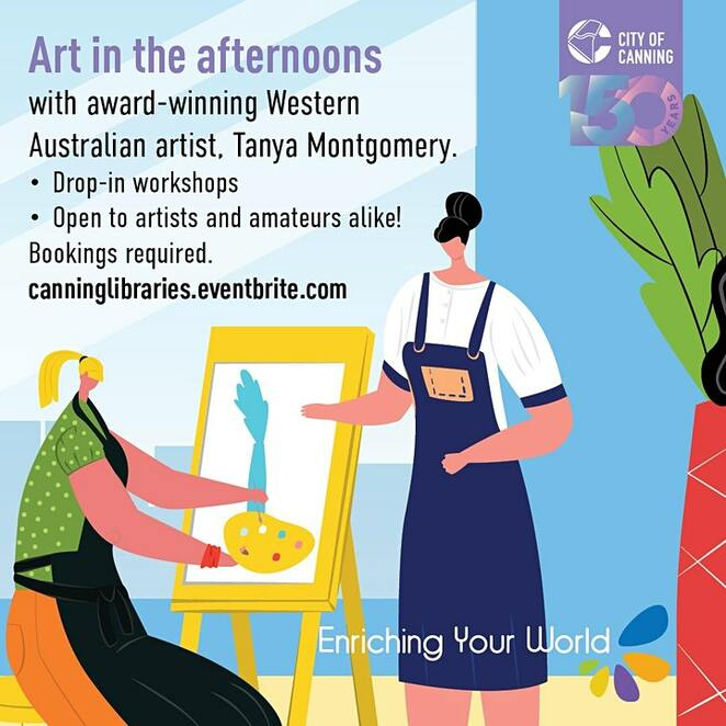 art in the afternoons, free workshops, riverton library, community events, fun things to do, library events, artist tanya montgomery, new art making techniques, skill based, variety of art forms, artists, painting, drop in art workshop, art workshop for amateurs and artists