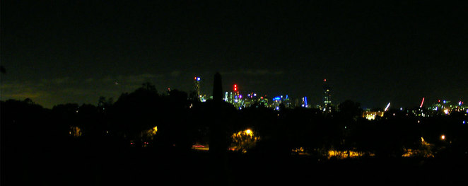 City lights seen from Toowong Cemetery