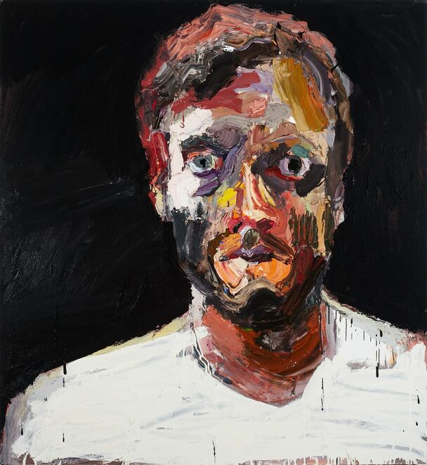 Ben Quilty, Australia, born 1973, Self-portrait after Afghanistan, 2012, Southern Highlands, New South Wales, oil on linen, 130.0 x 120.0 cm; Private collection, Sydney, Courtesy the artist, photo: Mim Stirling.
