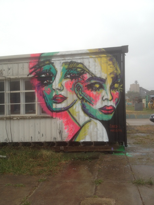 Extraordinary beauty on the side of an abandoned office