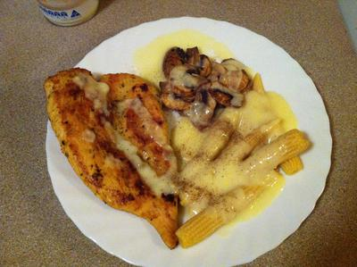 crumbed chicken, corn and mushrooms with cheese sauce