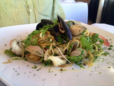 linguini, pasta, seafood, lunch, meal, culinary, dining, restaurant, lunch