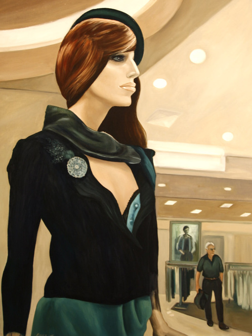 The shoplifter mannequin painting photographed