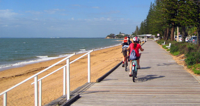Cyclists can continue all the way out to Redcliffe