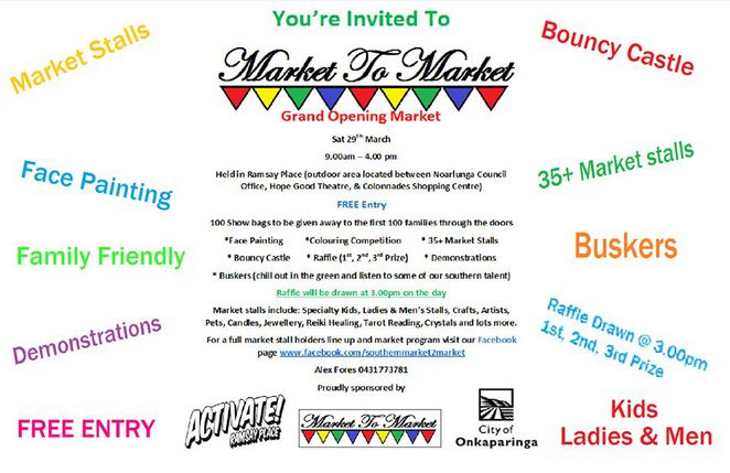 market, noarlunga, ramsey place, family fun, face painting, bouncy castle, buskers, raffles