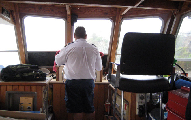 The Captain of the River Tour Cafe hard at work