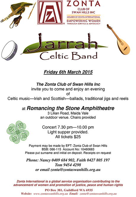 Zonta, The Jarrah Celts, Romancing the Stone Amphitheatre, Fund-raising