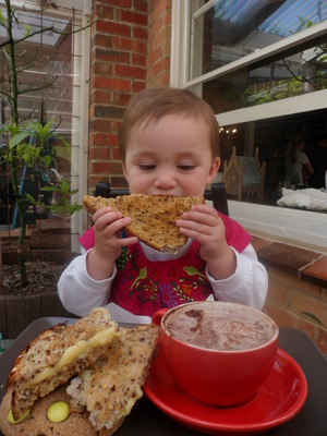 Josefine enjoys a toastie from the kid's menu at Wombat Hill Cafe