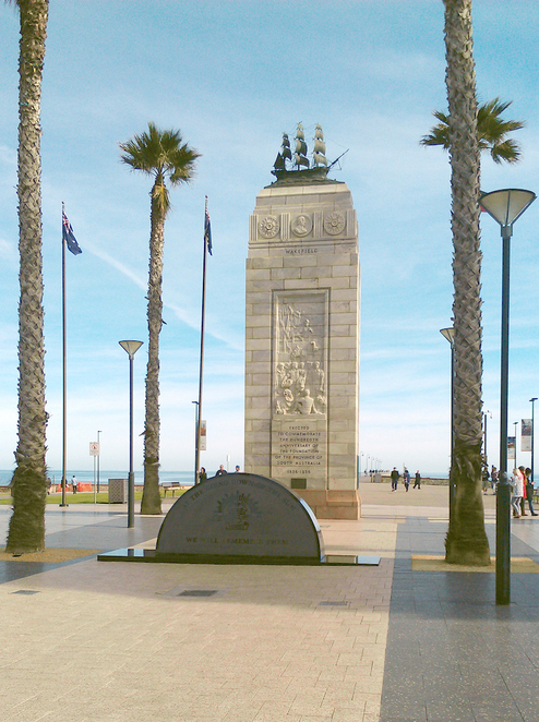 The beautiful Glenelg forshore, war memorial, beach and impressive jetty
