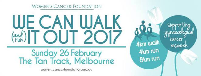 we can walk it out 2017, tan track, lawn 9 alexandra avenue, charity, fundraiser, fitness, women's cancer foundation, annual fundraising event, runners, joggers, walkers, funds for gynaecological cancer research, kings domain, botanic gardens, ovarian cancer awareness month, wheelchair accessible, community event, health and fitness, fun things to do, unusual things to do, unusual events