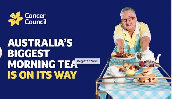 Australia's Biggest Morning Tea, Cancer Council, Aimee Provence High Tea Parlour, 24 May 2018, raise funds for locals diagnosed with cancer, $45 per person, $15 donated, bookings essential, Savoury Selection, ribbon sandwiches, Sweet Selection, cakes, French macaroons, scones, Beverage Selection, Bellini, Gluten Free Menu, raffle, prizes, family, friends, colleagues, help raise funds