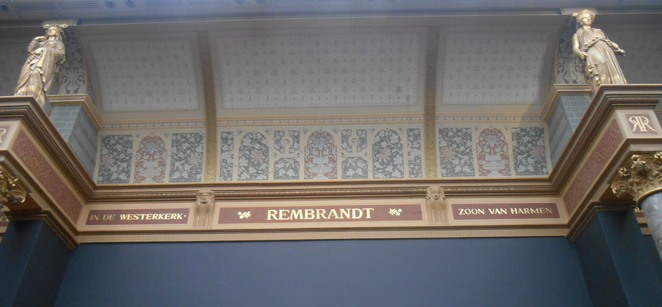 ceiling artwork, stencilling, painted ceiling, rijksmuseum ceiling, plafond