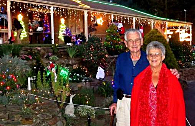 Christmas, Lane, Lights, Display, 2018, Lobethal, Peg, Bill