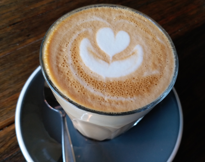 A latte at Espresso 155, Ascot Vale. Photo credit: Aridhi Anderson.