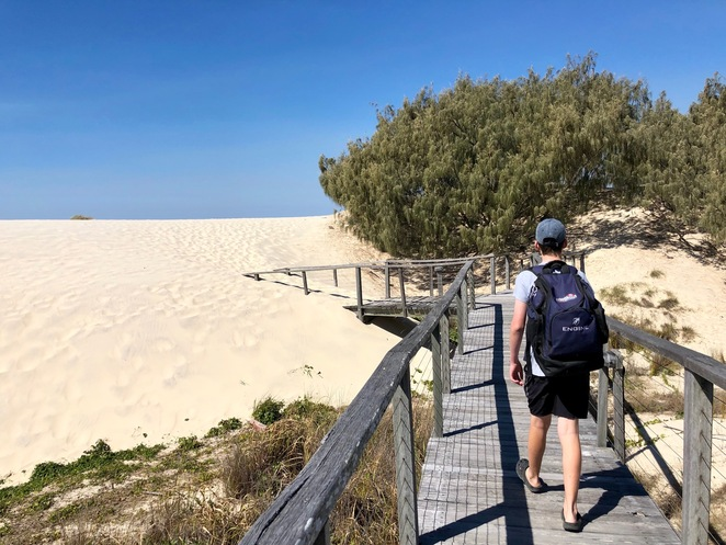 Boardwalk to the surf beach on South Stradbroke Island