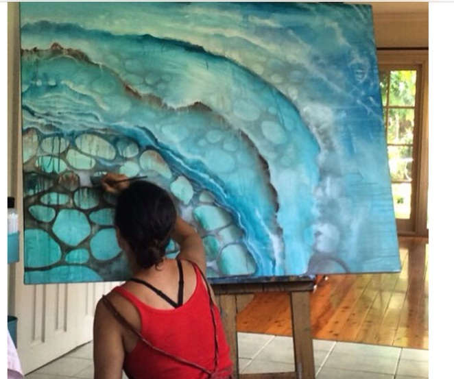 Gabbi Lancaster,painting 'Sea Soul' elemental art exhibition Surry Hills
