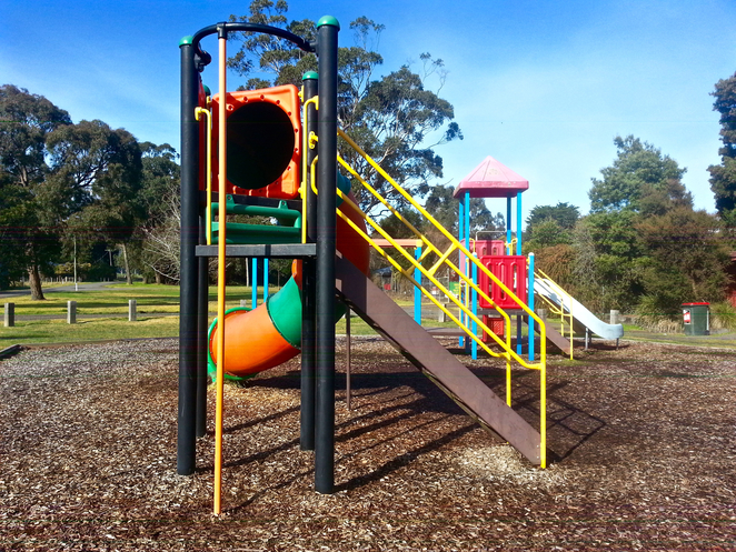 Gellibrand, Parks in Gellibrand, Toilets Gellibrand, Otways, Rex Norman Park, Rex Norman Playground, Gellibrand Playgrounds, Playgrounds near the otways, picnic spots, tunnel slide, fireman's pole, colourful slide, colourful playground,