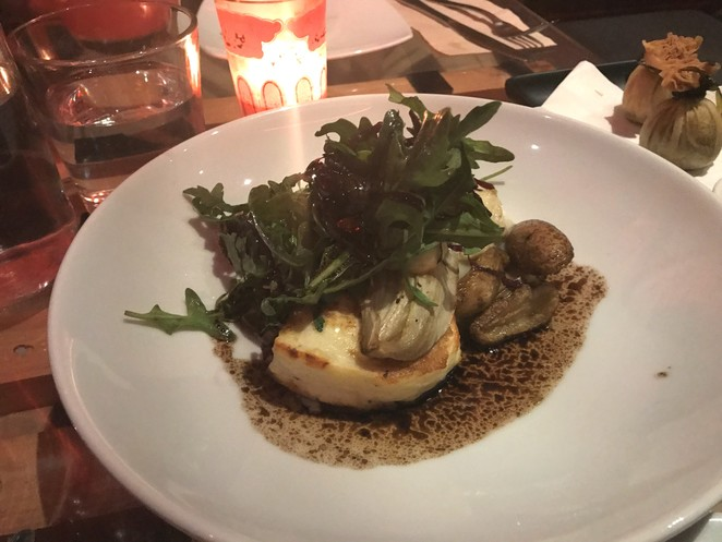 Grilled Haloumi with Balsamic Reduction and Potato Puree