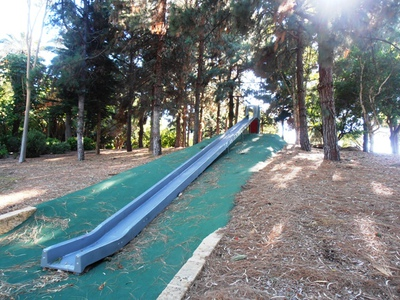 This very long slide at the John Oldham Park looks like it would be a blast to try...and not just for the kids.
