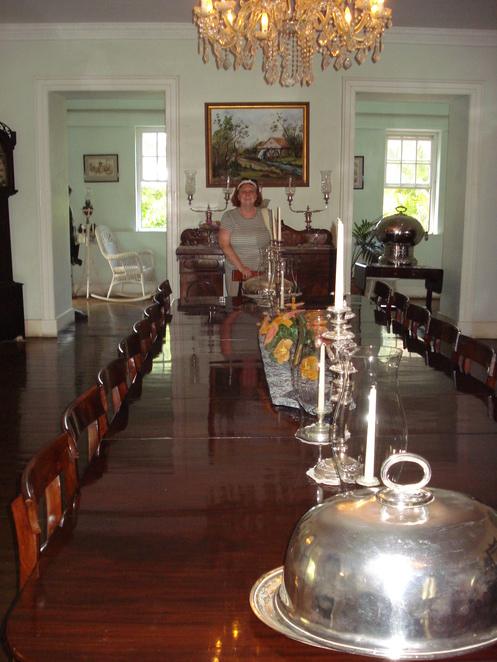 M with huge dining table at Sunbury
