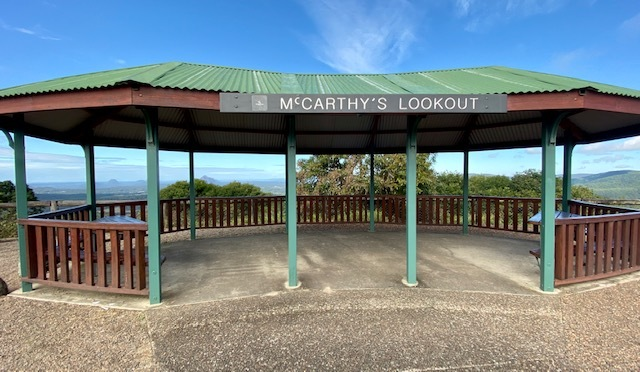 There is a shaded gazebo with picnic facilities at McCarthy's Lookout