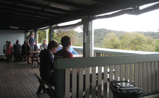 Enjoying the view from the back deck of O'Reilly's Mountain Cafe