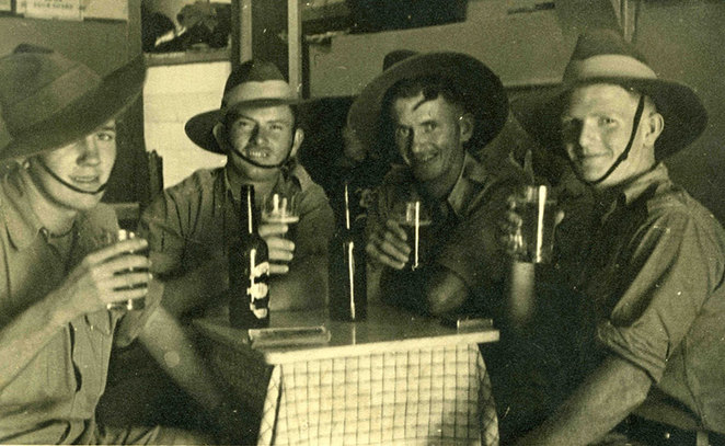 Sharing Stories at ANZAC Cottage 2018, Sergeant Ivor Williams, Anne Chapple's father (far left), of the 2/43rd Battalion, enjoying a beer with his mates, during his service in the Middle East in World War II (Photo from Friends of ANZAC Cottage collection).