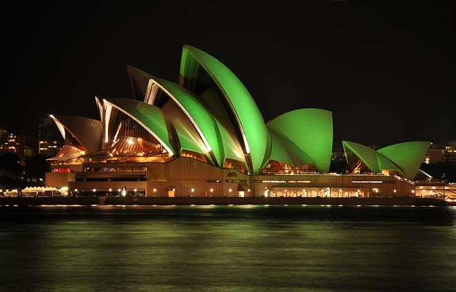 St Patricks Day,Opera House, Sydney goes green