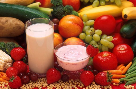 A healthy vegan breakfast of fruit, soya yoghurt and almond milk. Image is from Wikimedia Commons (by Peggy Greb, USDA ARS).