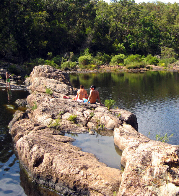 The rock pools above the falls