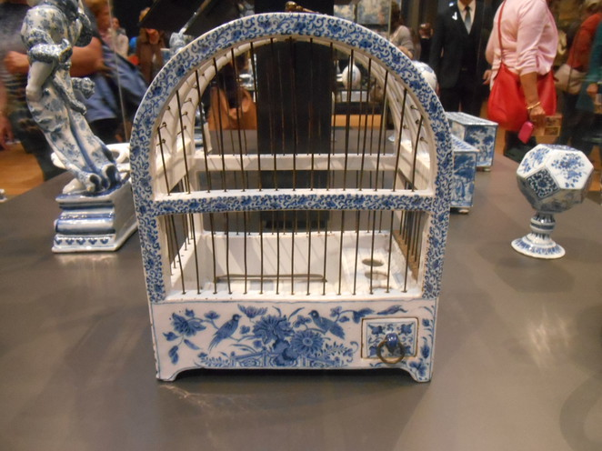 Delft Blue bird cage, Delft Blue, ceramic, bird cage