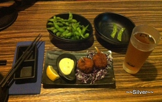 Edamame and Crab Cream Croquette with a Asahi