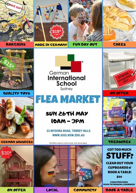 giss flea market 2019, community event, fun things to do, german international school sydney, second hand goods, books, games, toys, clothes market, preloved goods, grab a bagain, free event, fundraiser, school community, food and drink, german sausages, homemade cakes, pretzels, waffles, coffee, trash and treasure