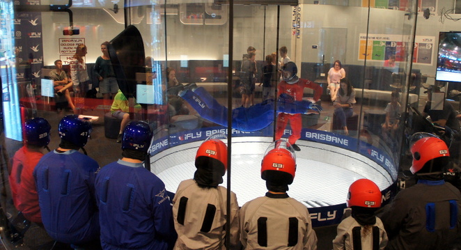 Indoor sky diving is fun for all ages