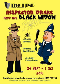 Inspector Drake and the Black Widow, The Lind Theatre Nambour, Closing Night Gala Event, a night of murder, mystery and hilarity, whodunit? c